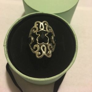 Authentic TOUS dama silver and onyx ring size 6.5
